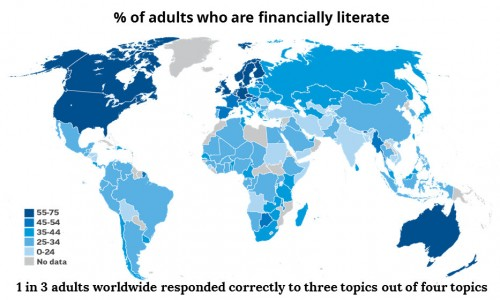 World Map % of Adults Who Are Not Financially Literate